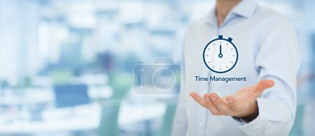 Businessman with clock watch expecting deadline