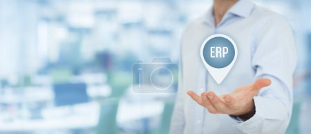 Photo for Enterprise resource planning ERP concept. Businesswoman offer ERP business management software for collect, store, manage and interpret business data - Royalty Free Image
