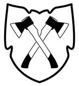vector crossed ax in shield icon