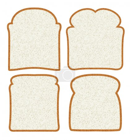 Vector collection of white bread slices...