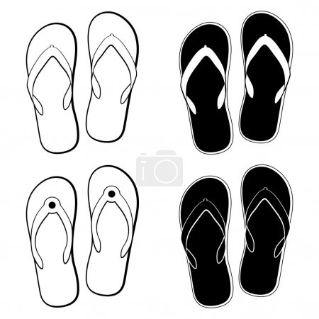 vector collection of  flip flops icons