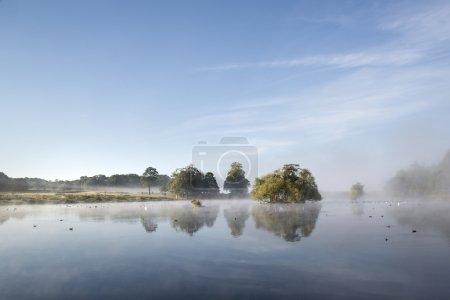 Photo pour Calme lac paisible avec brume suspendue au-dessus de l'eau sur givré automne automne matin paysage - image libre de droit