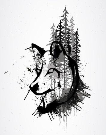 Illustration pour Résumé tête de loup grunge - image libre de droit