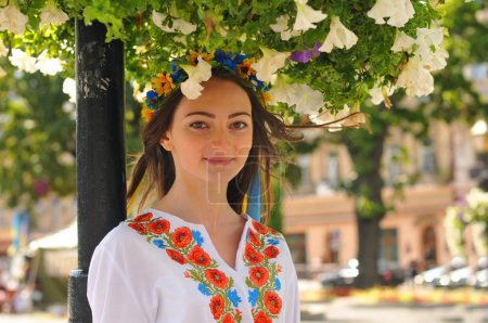 Pretty ukrainian girl in flowers