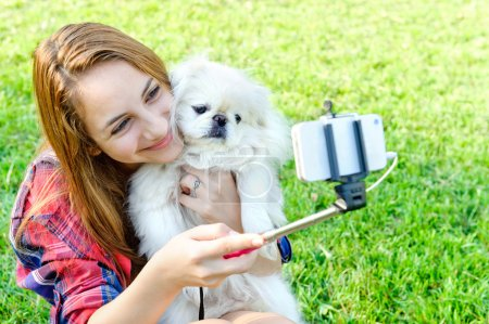 Beautiful girl with dog taken pictures of her self, instagram