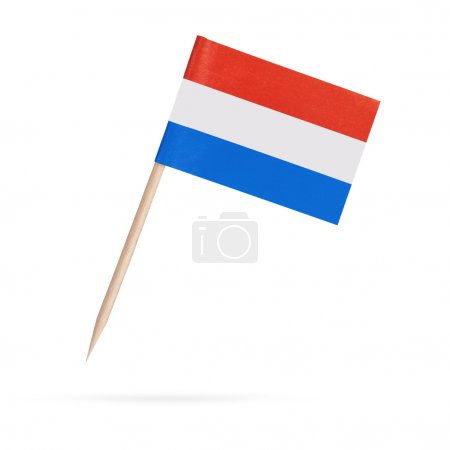 Photo for Miniature paper flag Netherlands , Holland. Isolated mini Dutch flag pointer on white background. With shadow below - Royalty Free Image