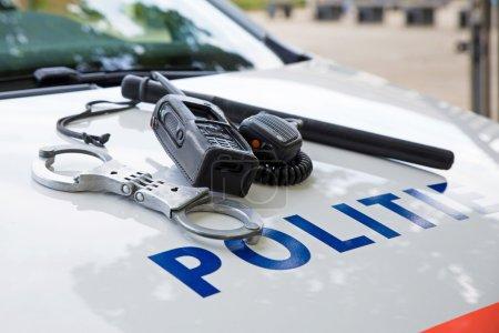 police equipment on a dutch police car