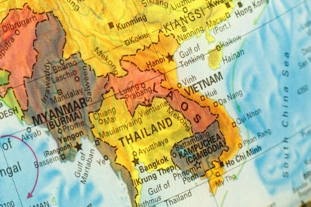 Map of Thailand,Vietnam and Laos. Close-up image