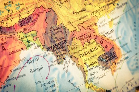 Map of Thailand and Laos. Close-up image