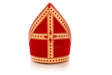 Photo for Mitre or mijter of Sinterklaas. Isolated on white backgroud. Part of a dutch sancta tradition - Royalty Free Image