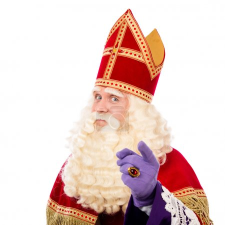 Photo for Sinterklaas with pointing finger. isolated on white background. Dutch character of Santa Claus - Royalty Free Image