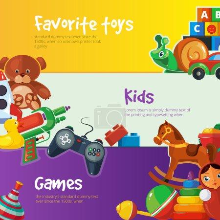 Illustration pour Jouets icônes pour les enfants isoler sur fond de couleur. Pack d'illustrations vectorielles de jouets. Jeu de jouets de bande dessinée pour bannières web avec place pour votre texte . - image libre de droit