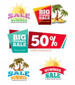 Vector labels set for advertizing Emblems for big summer sales Pictures isolate on white background