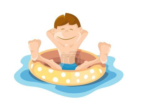 Illustration pour Image plate du garçon qui joue et nage dans la piscine. Illustrations vectorielles isolées sur fond blanc - image libre de droit