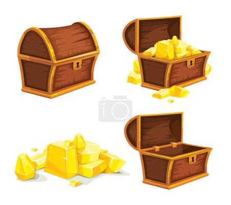 Illustration pour Ensemble vectoriel de coffret vintage en bois avec couvercle doré, ouvert et fermé. isolé sur fond blanc. Image pour le jeu 2D UI - image libre de droit