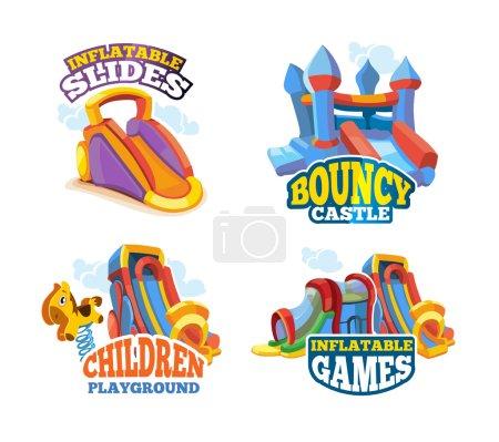 Illustration pour Ensemble d'illustrations vectorielles d'emblèmes de couleur avec jouets pour jeux sur aire de jeux gonflable. Annoncez les étiquettes avec place pour votre texte. Les photos isolent sur fond blanc. Style plat - image libre de droit