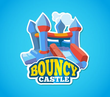 Illustration pour Illustration vectorielle de l'emblème de couleur avec château plein d'entrain pour les jeux sur aire de jeux gonflable. Annoncez l'étiquette avec place pour votre texte. Isoler photo sur fond bleu - image libre de droit
