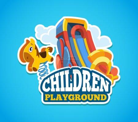 Illustration pour Illustration vectorielle de l'emblème de couleur avec des jouets pour les jeux d'été et des glissières pour enfants sur l'aire de jeux. Annoncez l'étiquette avec place pour votre texte. Isoler photo sur fond bleu - image libre de droit