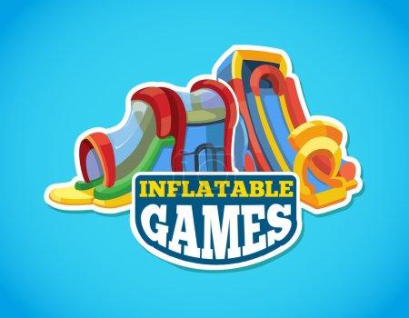 Illustration pour Illustration vectorielle de l'emblème de couleur avec des glissières gonflables sur l'aire de jeux. Annoncez l'étiquette avec place pour votre texte. Isoler photo sur fond bleu - image libre de droit