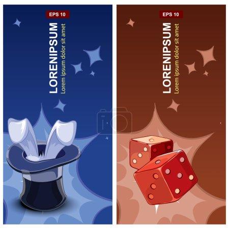 Illustration pour Étiquettes avec chapeau sorcier et cubes rouges pour dés - image libre de droit