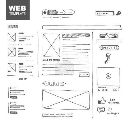 Illustration pour Illustration vectorielle. Croquis de page Web - image libre de droit