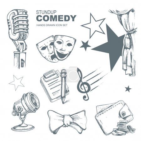 Illustration for Icons set for standup comedy show. Hand drown funny pictures - Royalty Free Image