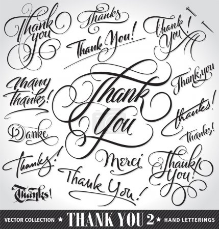 Illustration for Set of custom THANK YOU hand lettering (thank you, danke, merci, thanks, many thanks), vector illustration. Hand drawn lettering card backgrounds. Modern handmade calligraphy. Hand drawn lettering elements for your design. - Royalty Free Image
