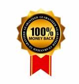 Gold Label 100 peníze zpět. Vektorové ilustrace