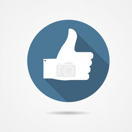 Illustration for Vector Illustration of Blue Thumb Up Icon with Long Shadow EPS10 - Royalty Free Image