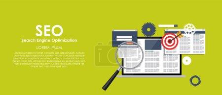 Illustration for SEO Search Engine Optimazation Vector illustration. Flat computing background. EPS10 - Royalty Free Image