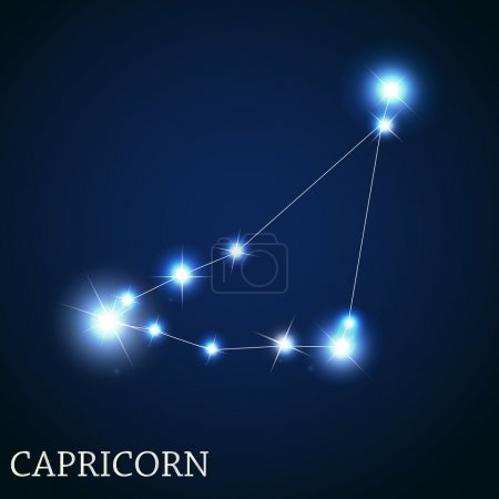 Capricorn Zodiac Sign of the Beautiful Bright Stars Vector Illus
