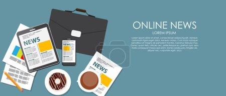 Illustration pour Illustration de vecteur de nouvelles en ligne. Fond plat de calcul. Eps10 - image libre de droit
