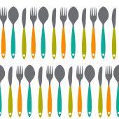 Vidličku, nůž a lžíci Bezešvé Pattern vektorové ilustrace
