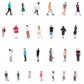 Řadu lidí. Děti, dospělí, senioři. Vektorové ilustrace