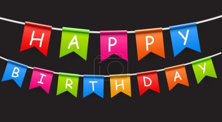 Illustration for Happy Birthday Party Background with Flags Vector Illustration. EPS10 - Royalty Free Image