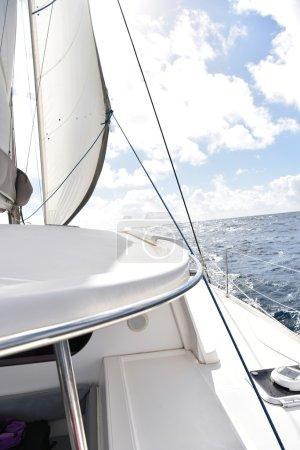 Catamaran sailing on  sea
