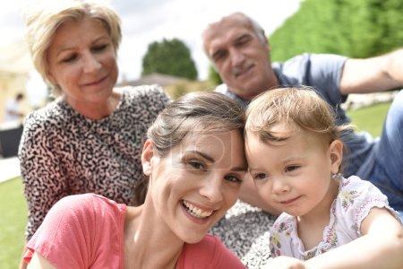 Family enjoying summer day
