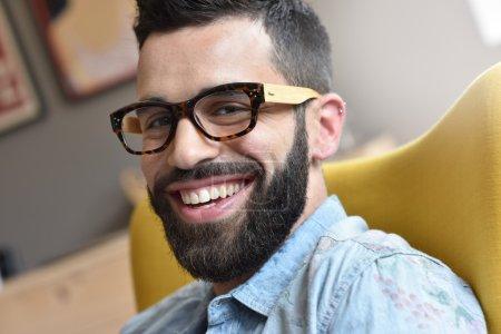 hipster guy smiling