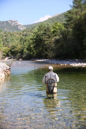 Photo for Fly fisherman flyfishing in river - Royalty Free Image