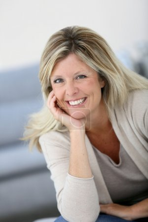 Photo for Portrait of beautiful 40-year-old woman - Royalty Free Image