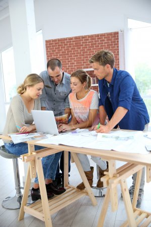 Photo for Students in architecture working together on project - Royalty Free Image