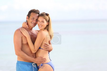 Couple in embracing at beach