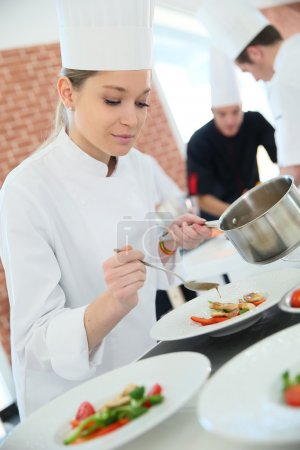 Woman in cooking class