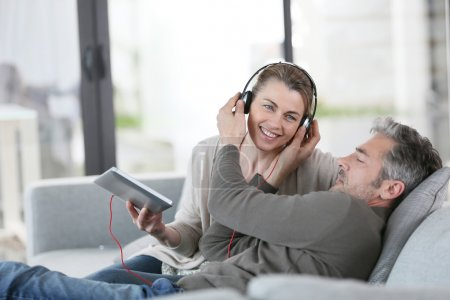 Couple listening to music