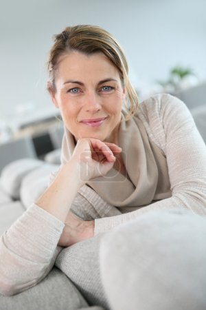 Peaceful middle-aged woman