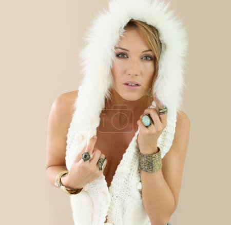 woman wearing  woolen jacket posing