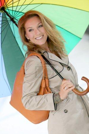 Woman on a rainy day walking