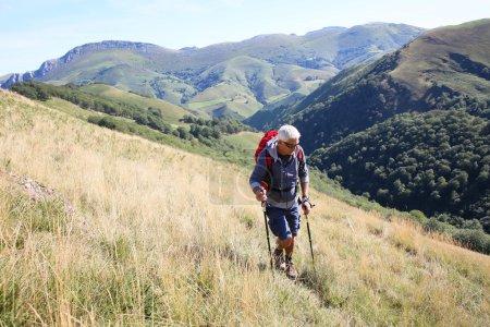 trekker on a journey in mountains