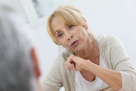 woman talking to husband