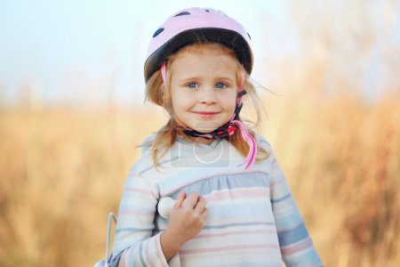 Photo for Small funny kid with helmet posing. - Royalty Free Image